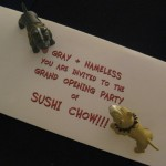 """""""Look, Nameless! We've been invited to a party at a new sushi restaurant.""""  """"Let's go Gray! We've never had sushi -- or been to a party -- before."""""""